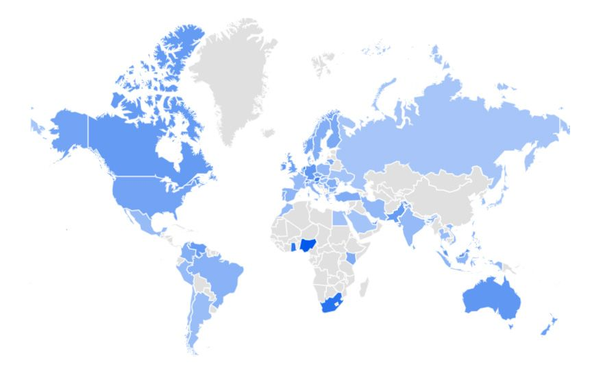 Google Trends global map Bitcoin